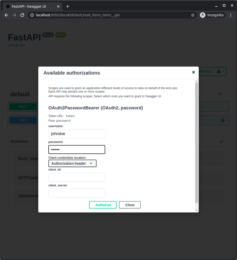 Simple OAuth2 with Password and Bearer - FastAPI